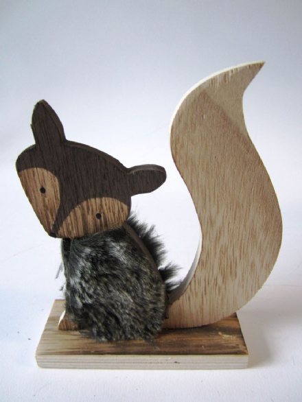 Mr Fox Rustic Wooden Ornament with Faux Fur